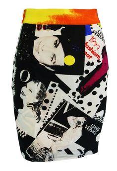 1991 Gianni Versace VOGUE Print Mini Skirt 40