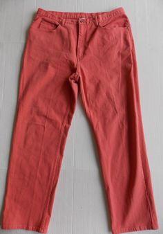 "Chicos 3  Jeans Regular Womens Stretch straight leg Salmon Pink large 34X28.5""…"