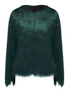 Green Collarless Faux Fur Coat