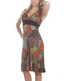 Love this Brown Peacock Surplice Dress on #zulily! #zulilyfinds