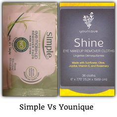 Simple makeup remover clothes Vs Younique? Before discovering Younique, Simple is what I used for some skin care. Including their makeup removing cloths. I ran out of my Younique cloths the other day and while waiting on my new ones to come in I still had a bag of Simple cloths so I have been using these the past couple of days. WOW what a difference! The Younuqie cloths are so smooth and make my skin look and feel great all while taking my makeup + eye makeup right off! The simple ones felt…