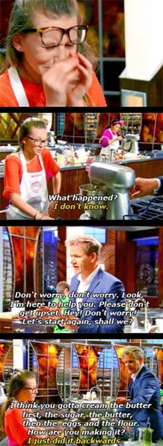 Good Guy Gordon Ramsay helping a contestant that fell into a crisis…