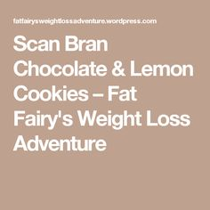 Scan Bran Chocolate & Lemon Cookies – Fat Fairy's Weight Loss Adventure