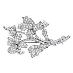 Estate Betteridge Collection Pavé Diamond Lily Flower Brooch