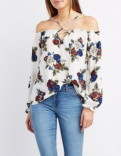 ONLY $16! Floral Strappy Cold Shoulder Top