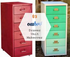 pretty up a metal drawer unit. from plain to ombre-wow for cheap. done with IKEA HELMER drawers but would be perfect for a file cabinet or locker paint makeover