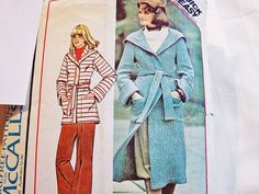 pattern for ladies coat sweater | Sweater Coat Pattern Misses size Medium 14 16 Hooded Unlined Coat ...