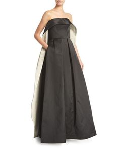 Strapless+Cape-Back+Evening+Gown+by+Zac+Posen+at+Neiman+Marcus.