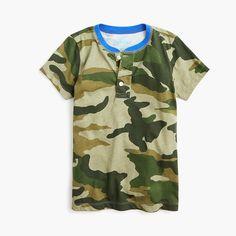 online retailer 3884b e9728 Boys  short-sleeve henley shirt in camo