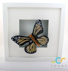 Cam kelebekler Butterfly fusion glass art, glass butterfly, black , decoration , frame