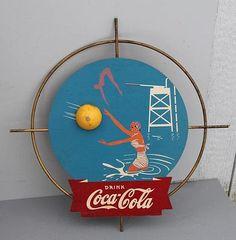 1940s Coca Cola Kay Display BATHING BEAUTY SIGN swimsuit beach ball