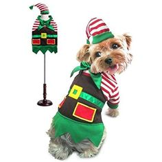 Santa'S Elf Christmas Holiday Theme Dog Costume Stripe Shirt Apron Matching Hat * You can find more details by visiting the image link. (This is an affiliate link) #Dogs