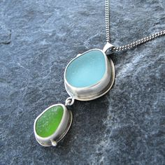Sea Glass Necklace Pendant in Aqua and Lime Green Beach Glass Jewelry by MonicaBranstrom on Etsy