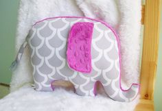 Elephant Pillow, modern nursery decor, radiant orchid, gray and magenta, raspberry nursery by bakerbaby on Etsy https://www.etsy.com/listing/195738971/elephant-pillow-modern-nursery-decor