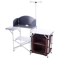 camping kitchen storage - CampLand Outdoor Portable Cook Station Folding Cooking Table Aluminum Camping Kitchen with Storage Organizer, Windscreen, Hooks for BBQ, Party -- Read more at the image link. (This is an affiliate link)