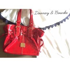 Dooney & Bourke Red Chiara Bag Measurements: 11.5 x 9 x 5.75 in. Has some scuffs on bottom, great condition! Bags Satchels
