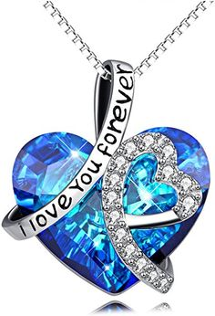 42e15a4fe406 AOBOCO Sterling Silver I Love You Forever Heart Pendant Necklace with Blue Swarovski  Crystals