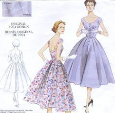 Misses Dress Sewing Pattern Low Neck Bodice Darts Vintage 50s Design Vogue 2960