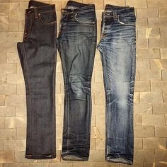 """""""Grim Tim Dry Navy - The one to the left is brand new, the one in the middle is 10 months old, no wash. The one to the right : 2 yrs and 3 washes. What a…"""""""