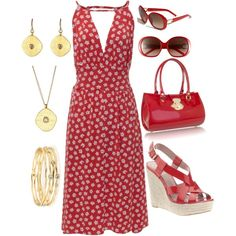 Red & Gold, created by rebecca-horn on Polyvore