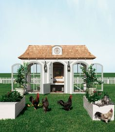 "Modeled after Marie Antoinette's Versailles retreat, Le Petit Trianon, this multilevel chicken suite includes a nesting area, a chandelier, a ""living room,"" and a library to house your chicken and gardening books. Oh, and it costs $100,000. (At least it comes with a $3,000 donation to the American Livestock Breeds Conservancy.)"