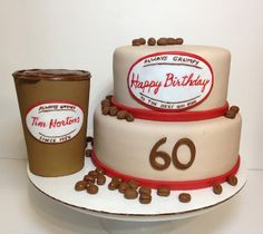 2 tier cake with fondant coffee beans and gum paste coffee cup 2 Tier Cake, Tiered Cakes, Coffee To Go, Coffee Cups, Tim Hortons Coffee, Sweet Sixteen, Fondant Cakes, Gum Paste, Coffee Beans