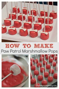 Simple Paw Patrol marshmallow pops that are perfect for any type of puppy party. Learn how to make these marshmallow pops for a fun birthday party treat that the kids will love. They make the perfect themed food for a Paw Patrol party. Paw Patrol Decorations, Kids Party Decorations, Party Ideas, Party Themes, Birthday Party Treats, Birthday Fun, Birthday Party Food For Kids, Third Birthday, Paw Patrol Cake