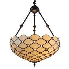 @Overstock - Tiffany Style Jeweled 18-inch Hanging Lamp - Hang this beautifully handcrafted lamp in your home to create an aura of vibrant elegance. Finished with mineral oil, the bronze fixture complements the glass pieces and pearls in a display that works well in any home.  http://www.overstock.com/Home-Garden/Tiffany-Style-Jeweled-18-inch-Hanging-Lamp/9176383/product.html?CID=214117 $129.99