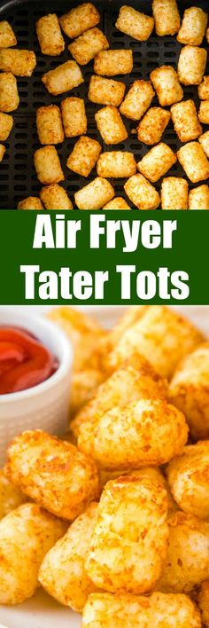 Air Fryer Tater Tots - make the BEST tater tots in the air fryer with this fool proof method. Frozen tater tots will turn out crispy and delicious every time! Entree Recipes, Side Dish Recipes, Appetizer Recipes, Dinner Recipes, Dinner Ideas, Dessert Recipes, Desserts, Kitchen Recipes, Cooking Recipes