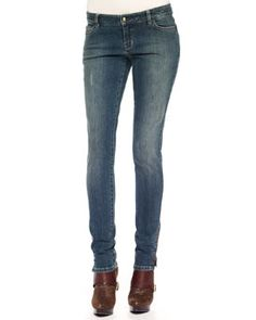 T569G MICHAEL Michael Kors  Skinny Zipper-Cuff Jeans