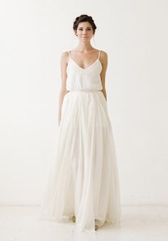 skirt and silk top. wedding separates.