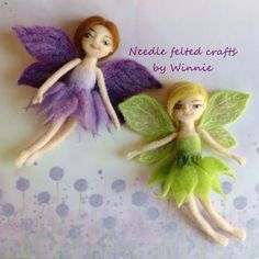 Green and purple fairies needle felted handmade by FunFeltByWinnie