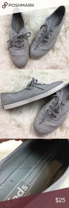 Keds Seltzer Dots Pattern on Gray Canvas Sneakers Such a fun pair of Keds! These are gray canvas with random, small and large polkadots. White rubber sides soles and gray laces. Soles appear to be in great shape and are clean. Inventory 0128/0202-100 Keds Shoes Sneakers