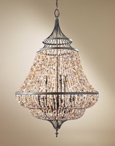 Nine Light Multi Tier Chandelier, Shells, Foyer Light, Bronze, Dining Room Chandelier