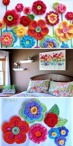 Button Crochet Wall Hanging - Pinterest Pinning for the middle picture idea
