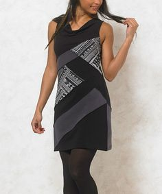 This Black Contrast-Panel Drape-Neck Dress - Plus Too is perfect! #zulilyfinds