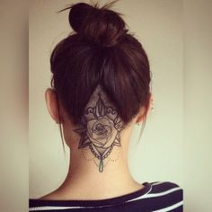 Undercut rose tattoo girl Pretty shaved chandelier