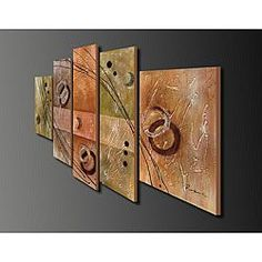 Hand-painted Oil on Canvas Wall Decoration 5-piece Art Set | Overstock.com Shopping - The Best Deals on Canvas