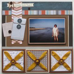 Make a Ribbon & buttons masculine scrapbook page layout. Easy DIY embellishments for your pages w/ easy to follow directions and tutorial by Tracy McLennon