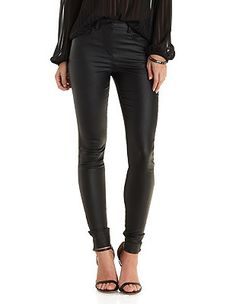 Sunday Rumors Coated Skinny Pants: Charlotte Russe