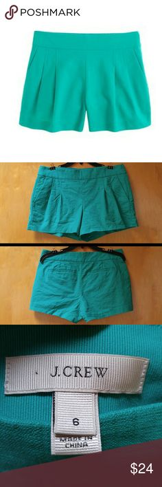 J. Crew Teal Pleated Short in Structured Cotton J. Crew shorts, size 6, in excellent condition. Only flaw is a small spot of discoloration on the back side, shown in 4th photo. Color is a vibrant teal green. Details include front and back pockets, size zipper, and unique pleats. Measurements coming soon. Cover photo from J. Crew. Please ask any and all questions. No trades. Make a reasonable offer. Thanks! J. Crew Shorts