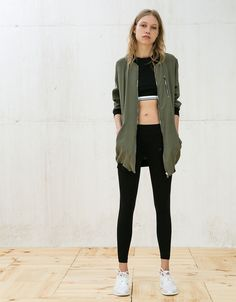Bershka Saudi Arabia - Long bomber jacket