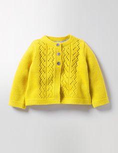 Cosy Baby Cardigan 71528 Knitwear at Boden Cardigan Bebe, Knitted Baby Cardigan, Knit Baby Sweaters, Knitted Baby Clothes, Yellow Cardigan, Knitting For Kids, Baby Knitting Patterns, Baby Patterns, Crochet Baby