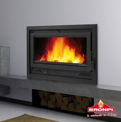 13.5kw Bronpi Loire Panoramic Inset Wood Burning Stove