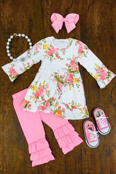 Sweet Aria Boutique Outfit - Sparkle in Pink Cute Baby Girl Outfits, Dresses Kids Girl, Toddler Girl Outfits, Cute Baby Clothes, Toddler Fashion, Kids Outfits, Kids Fashion, Cute Outfits, Fashion Outfits