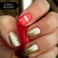 Valentines Nail Inspiration on MarthaLynnKale.com!  #coral #glitter #gold #pink #nailart #valentines #marthalynnkale #fashion #nailtrends #essie #opi #butter