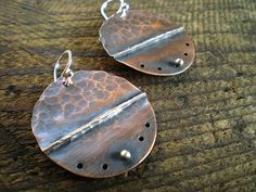 Folded Copper and Sterling Silver Earrings by BalsamrootRanch.com, $56.00