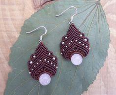 Rose Quartz Macrame earrings por SelinofosArt en Etsy, €20.00