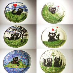 painted cat plates - cute