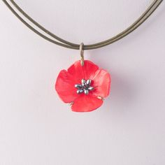 Red Poppy Necklace - Leather by Michael Michaud